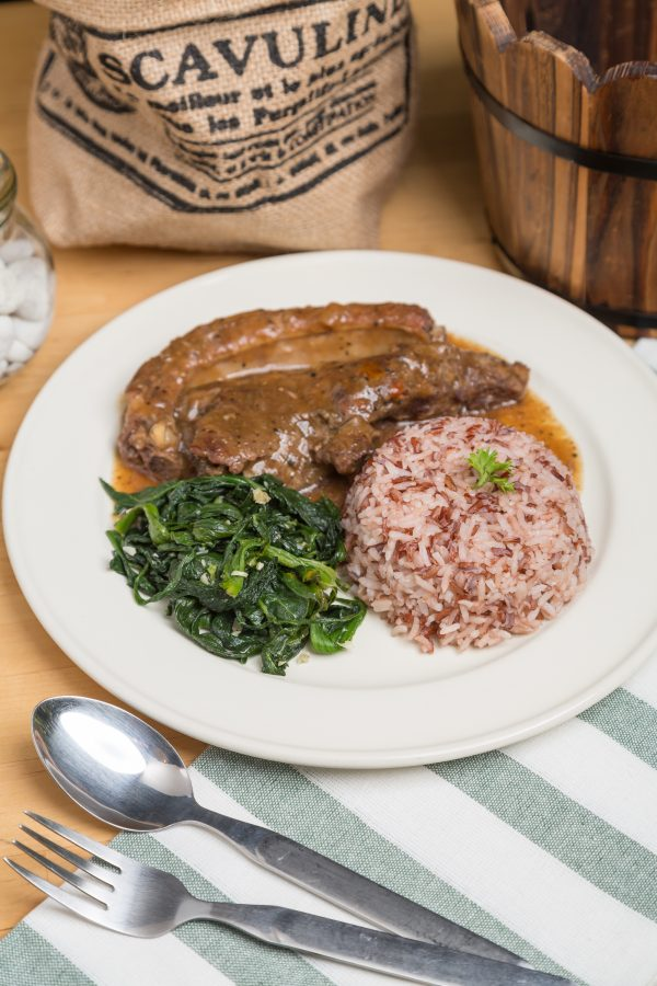 roasted pork with brown rice