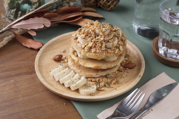 gluten free and vegan pancake stack with peanut butter