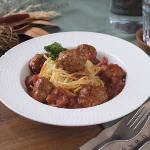 spaghetti with pork meatballs