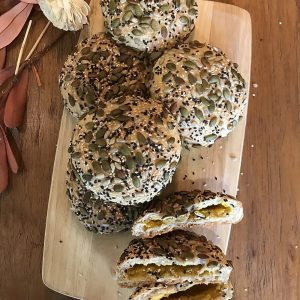 vegan multigrain bun with pumpkin filling
