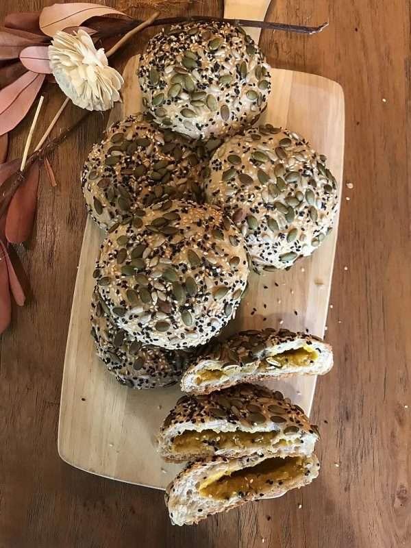 vegan multigrain bun with pumpkin filling