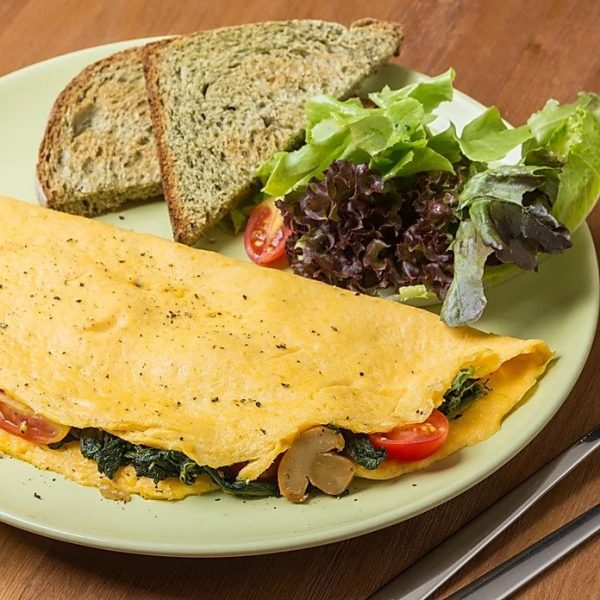 vegetarian omelette with toast healthy brunch