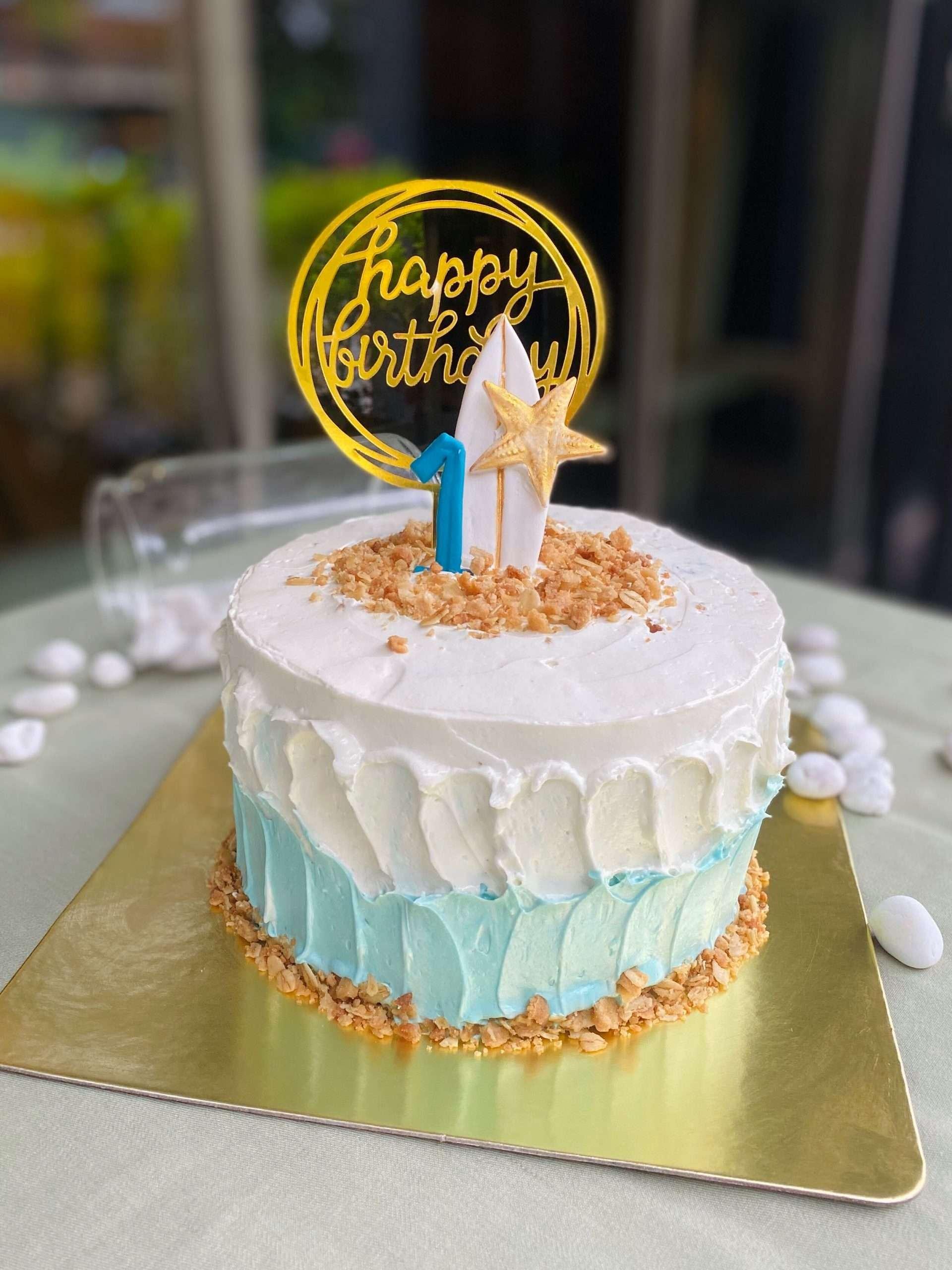 Ocean Surfboard themed cake