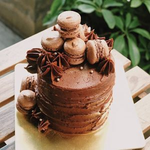 chocolate fudge cake macaron